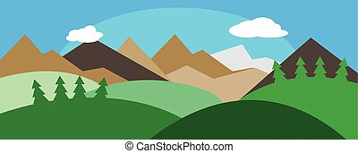 Panorama with hills, sky, sun. Outside landscape....