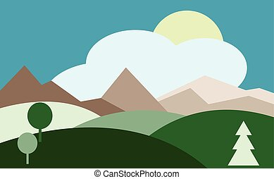 Landscape with hills, sky, sun. Countryside. vector...