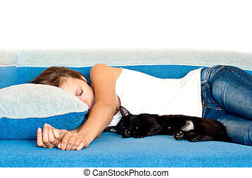 Girl and a cat sleeping next to similar positions - A girl...