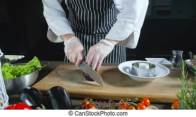 Chef Hand Slice Beetroot And Adds In On Salad - Chef Slice...