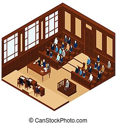 Isometric Judicial Session Room Template - Isometric...