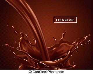 Splashing chocolate liquid