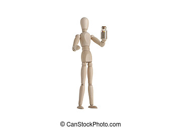 Wooden mannequin with holding sand bottle