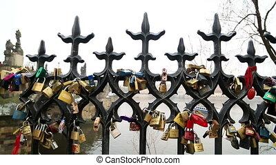Love locks on Prague bridge - Charles Bridge and Love locks...