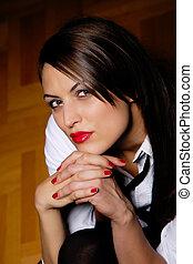 sexy women in short dress on wooden floor