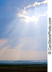 Ray of sunshine through the clouds - The rays of the evening...