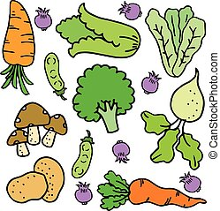 Doodle of vegetable set colorful