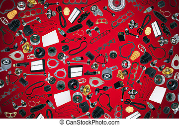 Spare parts car on the red background