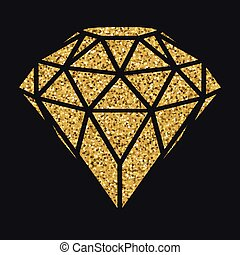 Geometrical golden glitter diamond isolated on blackbackground.