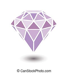 Geometrical purple diamond with shadow isolated on white background.