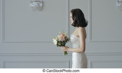 Bride Tossing Bouquet Behind Her Slow Motion
