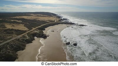 Aerial, Flight Along The Beautiful Praia De Nossa Senhora,...