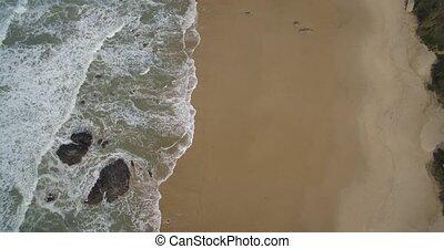Aerial, Flight Along The Beautiful Praia De Nossa Senhora,...