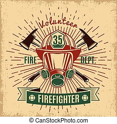 Vintage Firefighting Label - Vintage firefighting label with...