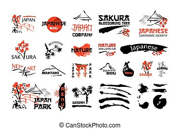 Japanese nature landscape and buildings. Red and black...