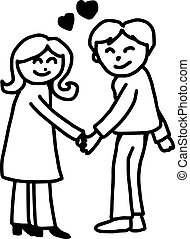 young couple in love holding hands with heart in the middle - illustration vector doodle hand drawn, isolated on white background