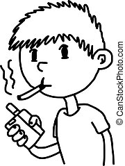 little boy smoking cigarette- illustration vector doodle hand drawn, isolated on white background