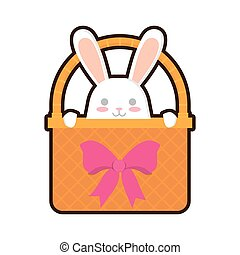 cartoon easter bunny basket with pink bow