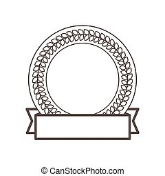 label round decorative frame laurel ribbon
