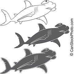 Vector set of illustrations depicting the hammer shark