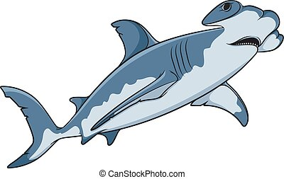Vector color illustration of the hammerhead shark. Isolated...
