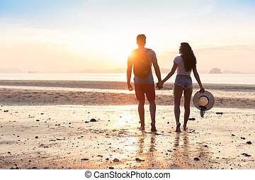 Couple On Beach At Sunset Summer Vacation, Beautiful Young People In Love Walking, Man Woman Holding Hands