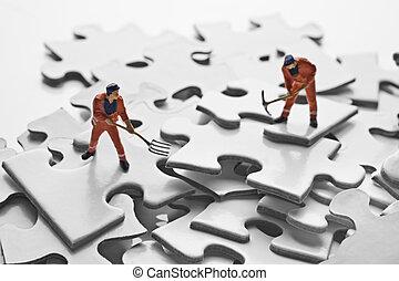 puzzle, figurina, lavoratore, pezzi