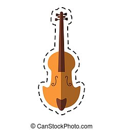 cartoon fiddle classical music instrument vector...