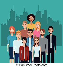 community people team together city background vector...