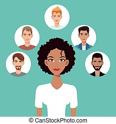young woman afro american with faces icon vector...