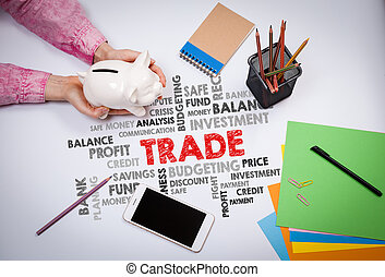 Trade, Money and Profit Concept. Business woman with a piggy bank