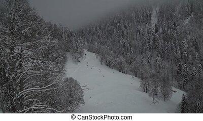 Ski slopes on southern slope Aibga Ridge of Western Caucasus...
