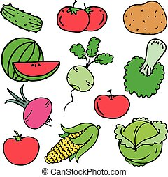 Collection stock of vegetables set vector art