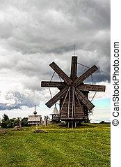 historic windmill for grinding flour in Kizhi on lake Onega...