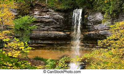Munising Falls Autumn Loop - Video loop features Munising...
