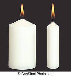 Realistic Vector Candles on black background