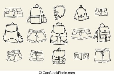 Backpacks and women jeans shorts - Hand drawn Vector Set of...
