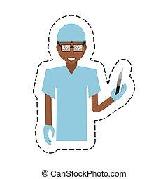 cartoon afro american man surgeon scalpel vector...
