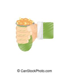 drawing hand holding bag coin st patricks day