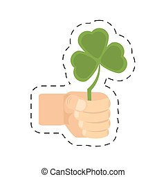 cartoon hand holding shamrock st patricks day
