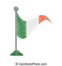 drawing irish flag st patricks day vector illustration eps...