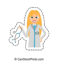 cartoon blonde doctor woman holding stethoscope