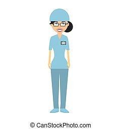 nurse with suit surgery hat and id card vector illustration...