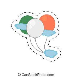 cartoon balloons flag fly irish st patricks day vector...
