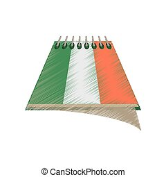 drawing calendar date st patricks day icon