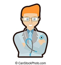 doctor stethoscope crossed arms vector illustration eps 10