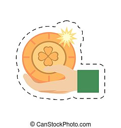 cartoon hand holding gold coin st patricks day vector...