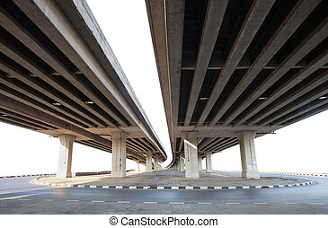 structure of cement bridge isolated white background