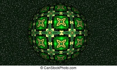 Abstract decorative video with rotating green sphere -...