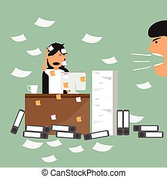Business woman and busy working hard in the office of her boss to damn with her. time management and deadline concept vector illustration.